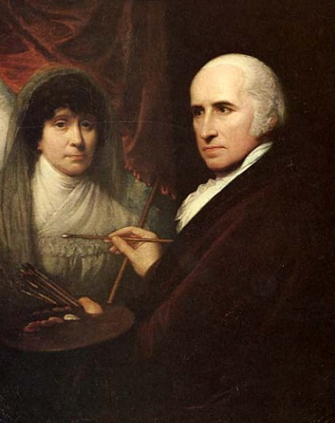 Self Portrait While Painting His Wife, Betsy (1806)
