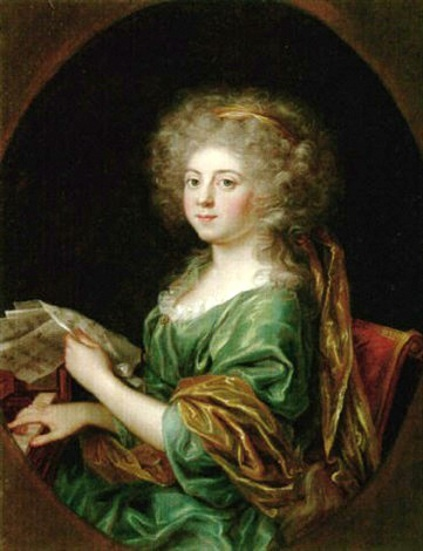 Young Girl Seated At A Piano Holding A Music Score
