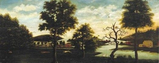 A Landscape With Trees, Red And Yelloe Houses On A Lake, A Hound Pursuing A Red Fox