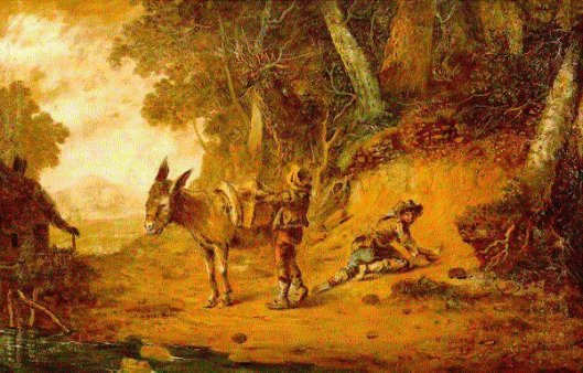 Wooded Landscape With Pack Mule