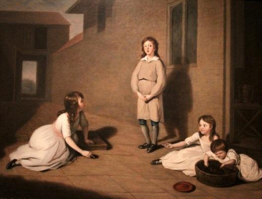 Four Children In A Courtyard