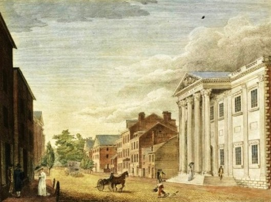 Bank Of The United States With A View Of Third Street, Philadelphia