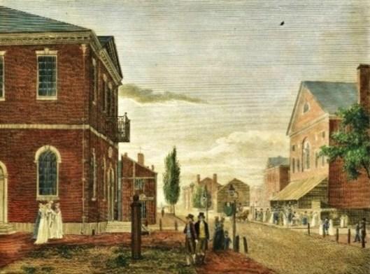 Congress Hall And New Theater On Chestnut Street, Philadelphia