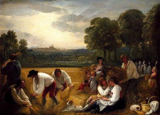 Harvesters Near Windsor Castle - Harvesting At Windsor