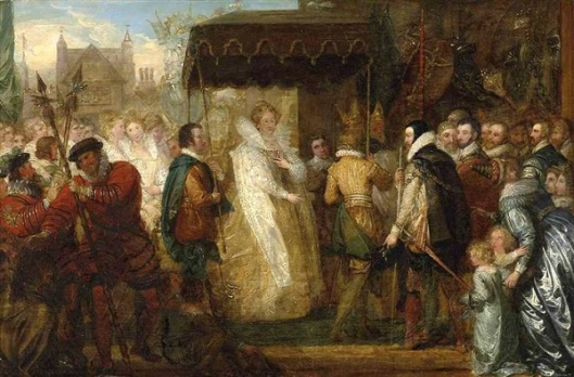 Queen Elizabeth Going In Procession To St. Paul's Cathedral After The Destruction Of The Spanish Armada