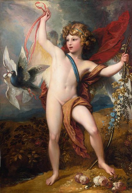 Cupid Releasing Two Doves