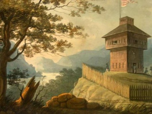View Of The Hudson At West Point With A Block House