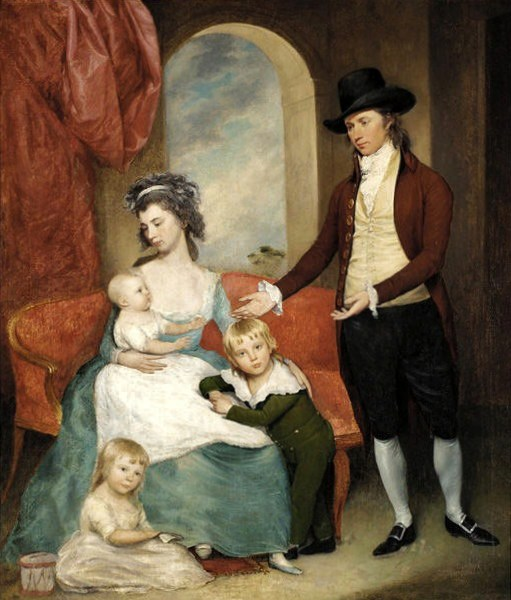 Artist's Family - Joseph Wright And Sarah Vandervoordt  with their sons Sarah, Joseph And Harriet