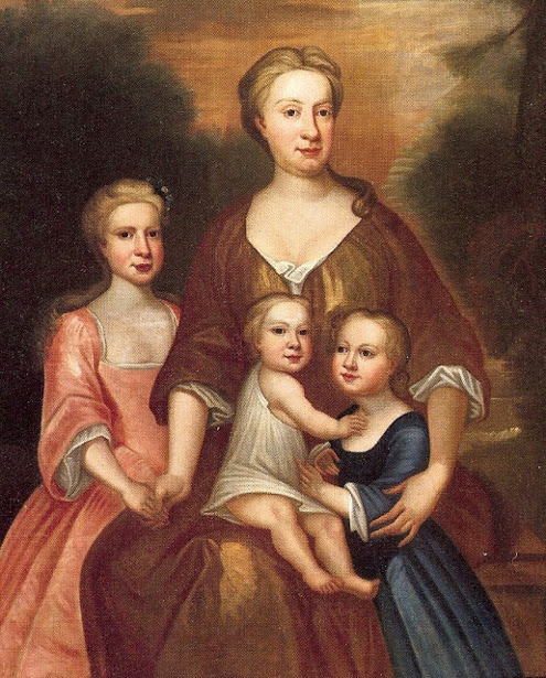 Thysje (Mrs James Henderson) with Margaret, Tessie and James II