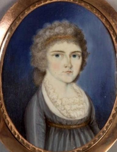 Woman In Gray-Blue Dress
